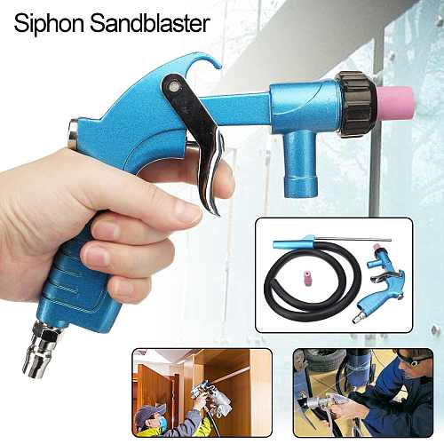 Air Siphon Sandblaster Feed Blasting Gu n Abrasive Tool Power Tool Kit Sprayer with Ceramic Nozzle Tips Sand Suction Pipe