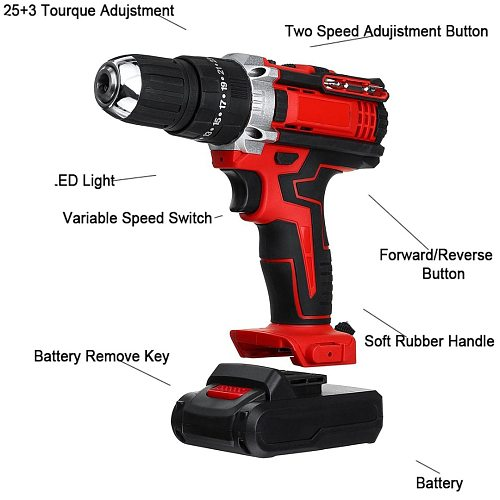 2 Speed Professional Hammer Screwdriver With LED 48V Electric Drill Cordless Rotary Tool Rechargeable Power Tools