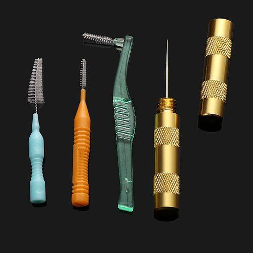 1Pcs Useful Cleaning Airbrush Nozzle Spray Gun Repair Needle & 3Pcs Brush Kit Tool Random Color Power Tool Accessories