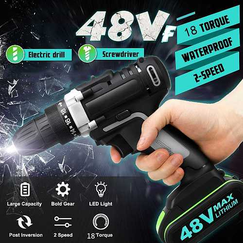 48V Cordless Screwdriver LED 18+1Torque Electric Drill Power Tools Handheld Lithium Battery Rechargeable Drill +2 Battery