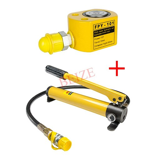 Super Thin Type Hydraulic Cylinder FPY-101 Hydraulic Jack with Height of 50mm, Stroke10mm with CP-180 Hydraulic Pump