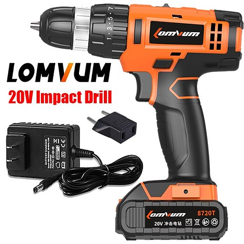 LOMVUM 20V Electric Rechargeable Multi-function Concrete Wall Cordless Drill With Lithium Battery Instruments Mini Magnetic