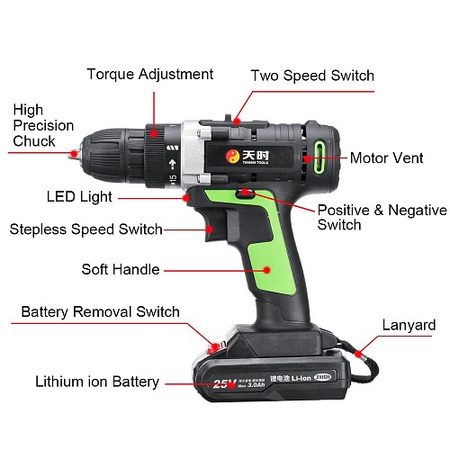 25V Power Tools Home Cordless Electric Screwdriver Mini Electric Drill Multi-Function Lithium-Ion Rechargeable Electric Drill