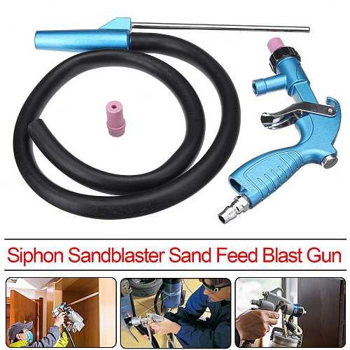 Blasting Air Siphon Feed Sandblaster Spray Gu n Kit with Sand Suction Pipe Hose Ceramic Nozzle Tips Abrasive Power Tool