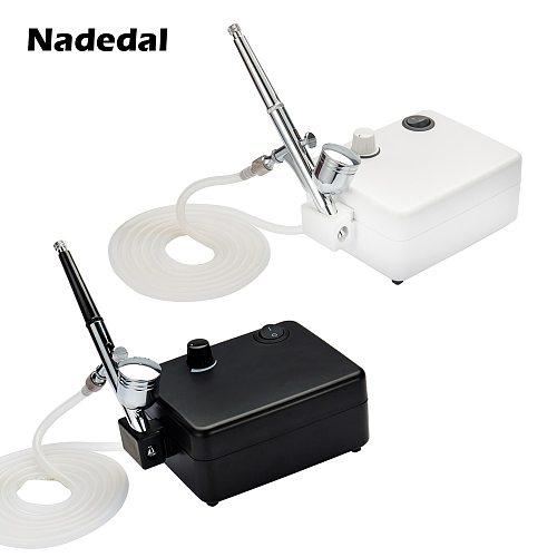 Nasedal 7cc 0.3mm Dual-Action Airbrush Compressor Kit 0.2mm/0.3mm/0.5mm Nail Paint Spray Gun for Cake Make up Body Tattoo Art