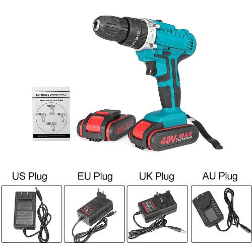 48V 6500mah/13000mah Household Electric Drill Wrench Driver Double Speed Cordless Drill Rechargeable Lithium Battery Screwdriver