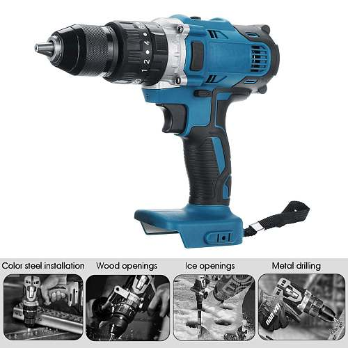 3 in 1 Electric Cordless Impact Drill 13mm 95NM Rechargable Electric Screwdriver Drill for 18V Makita Battery Power Tool
