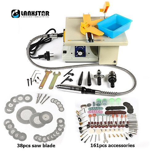 Lanxstar Second Generation Brass Wire Motor Table Saw Carving Polishing Table Saw Bed Multi-Function Desktop Mini Grinder
