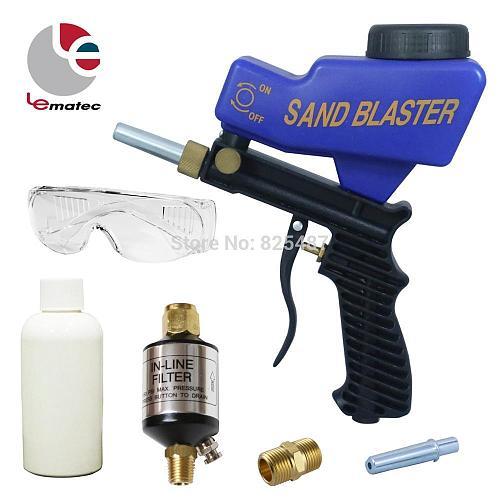 LEMATEC Sandblaster Gun Kits With Glasses Sand Canned Air Water Separator Filter For Remove Paint Rust Sandblasting Gun Kits