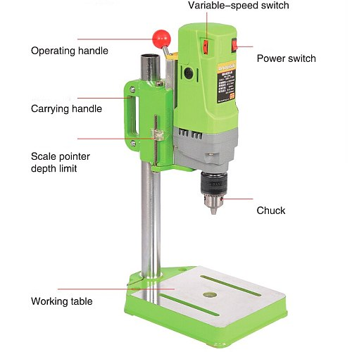 Mini Bench Drill Press 710W Bench Drilling Machine Variable Speed Drilling Chuck 1-13mm For DIY Wood Metal Electric + Vise Table