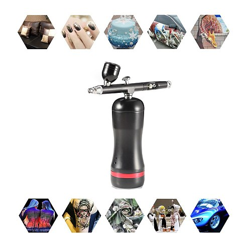 Airbrush With Compressor Kit Auto Start Stop Replace Battery Mini Electric Makeup Cake Car Body Art Design Paint Spary Air Brush