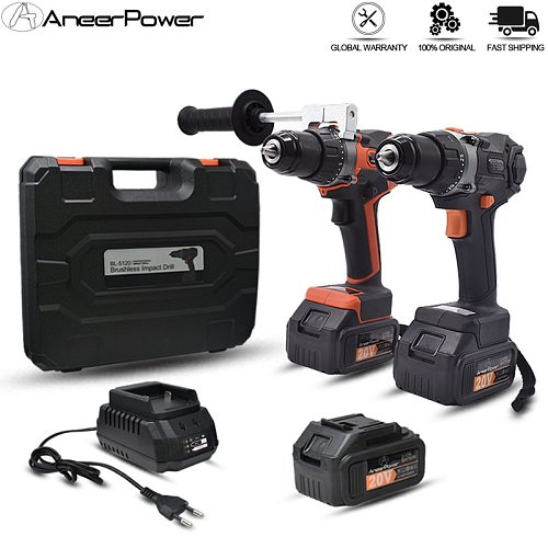 60 N/M Torque Brushless 20V Impact Drill 3.0Ah Lithium Battery Drill Electric Drill Cordless Screwdriver 13MM Self-Locking Chuck