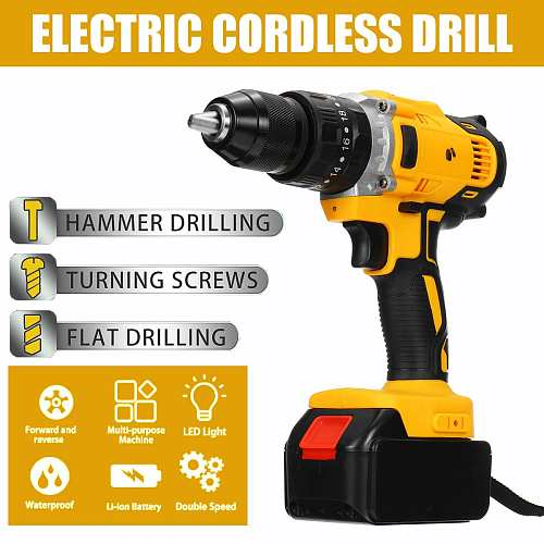 48V Electric Screwdriver Cordless Drill Lithium Battery Wireless Rechargeable Hand Drill Household DIY Electric Drill Power Tool