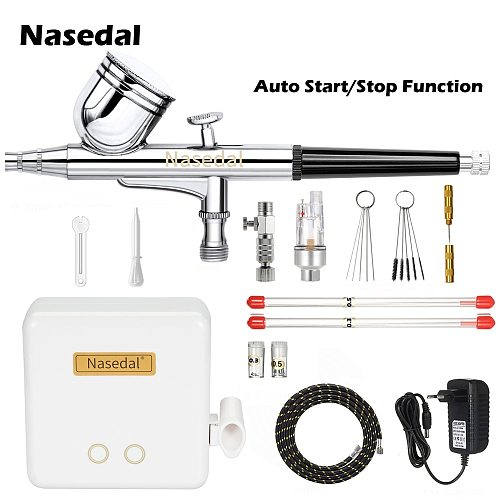 Nasedal NT-22B Auto-Stop Airbrush Compressor  0.3mm  7cc Dual-Action Air Brush Set Spray Gun Adjustable Power Touch Switch