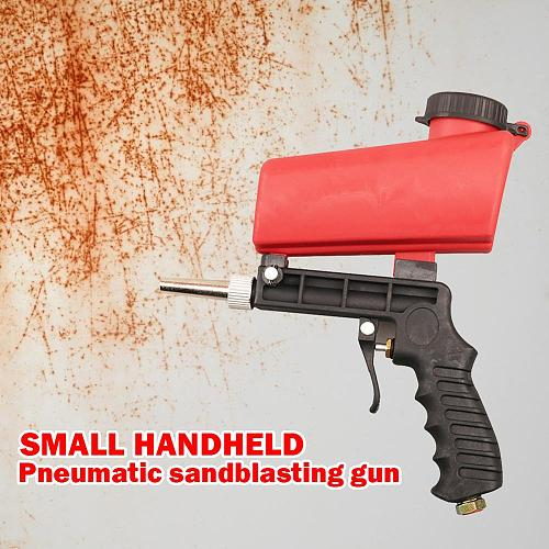 90psi Portable Gravity Pneumatic Sand-blasting Gun Lightweight Aluminium Handheld Rust Removing Sprayer Sandblasting Gun Tools