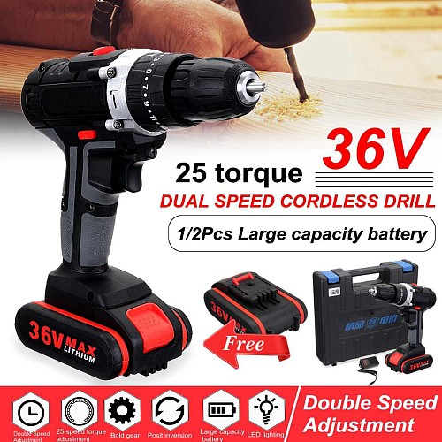 36V Cordless Electric Drill Screwdriver Double Speed 25~28Nm Drill Power Tools for Woodworking with 2Pcs Lithium Battery+BOX
