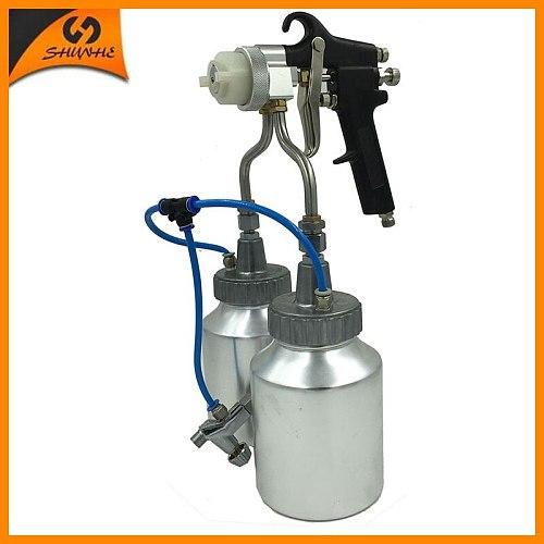 SAT1184 ningbo new type hot on sales chrome paint single head double nozzle spray gun