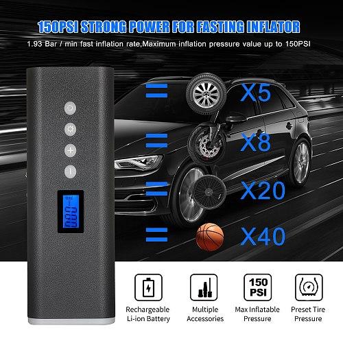 150PSI Multi-Purpose Air Pump 2000mAh Battery Handheld Wireless Tire Inflator Air Pump Compressor Portable Tire Pump Inflator