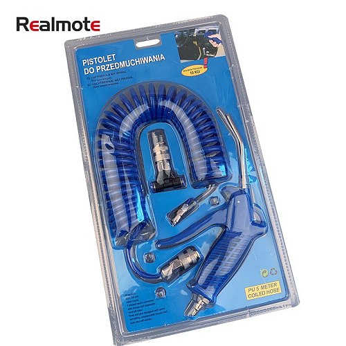 Realmote 4*6 European-style Dust Blowing Gun Set 5 M Pneumatic Combination With PUTPU Spiral  Air Nozzle Tools Pipe