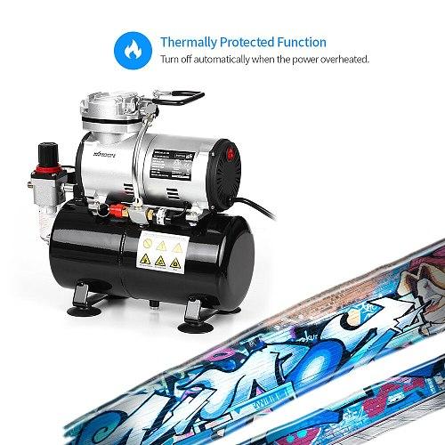 KKmoon Professional 1/6 HP Piston Airbrush Spray Gun 220-240V Tattoo Manicure Spraying Air Compressor with Tank