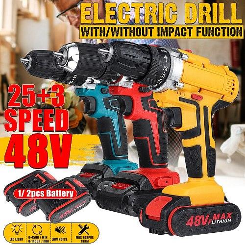 25+3 Torque Drilling Tool 48V 2 Speed Power-Drill Screwdriver Impact Dril Cordless Electric Drill + 1/2 Li-ion Battery 6000mAh