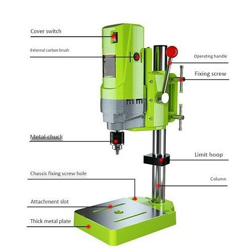 MINIQ Mini Drilling Machine Drill Press Bench Small electric Drill Machine Work Bench gear drive 220V 710W HT2600