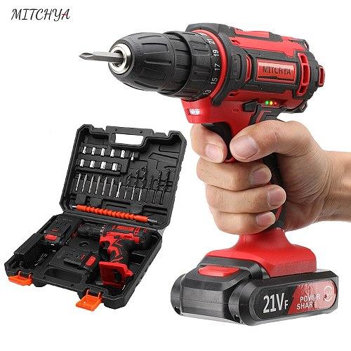 MITCHYA Cordless Drill 12V 16.8V 21V Lithium Battery Power Tools Kit with Toolbox Electric Cordless Screwdriver Mini