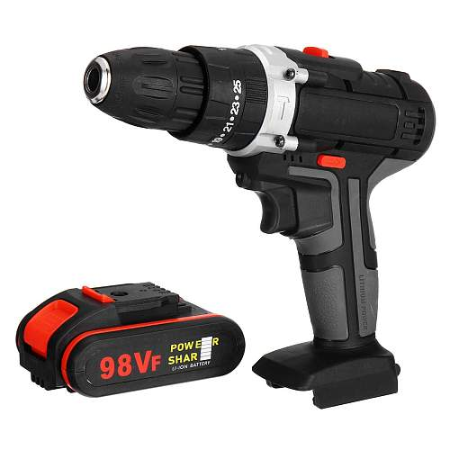 98VF Electric Impact Drill/Electric Drill Wrench Cordless Impact Drill Screwdriver Rotary LED 2-Speed 7500mAh Battery Woodworks