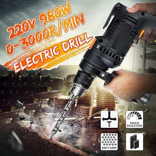 Becornce 980W 220V High Power Electric Impact Drill Screwdriver Angle Grinder Polisher Cutting Machine Concrete Core Drill Tool