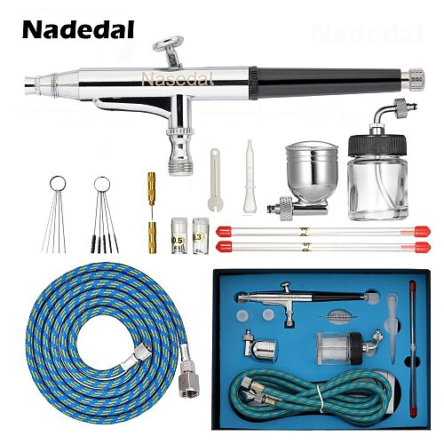 Nasedal Dual Action Airbrush 0.2mm 0.3mm 0.5mm Nozzle 7cc 20cc Cup Paint Spray Gun Air Hose for Model Painting Tattoo Cake Nail