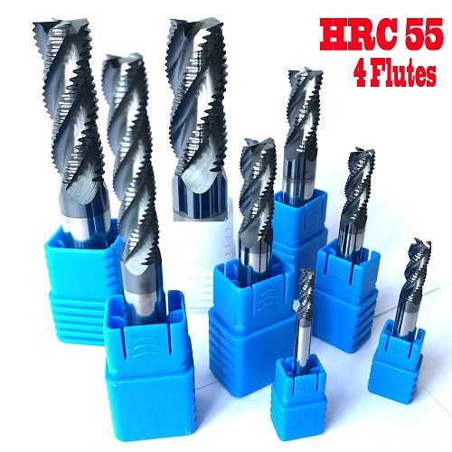 4mm 6mm 8mm 10mm 12mm HRC55 4 flutes Roughing End Mills  Milling cutters CNC rough Tools Carbide router bits milling bits