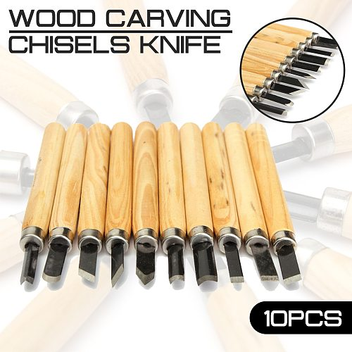 10pcs/lot Wood Carving Chisels Knife for Detailed Woodworking Gouges Hand Tools and Basic Wood Cut DIY Tools Marking Tools