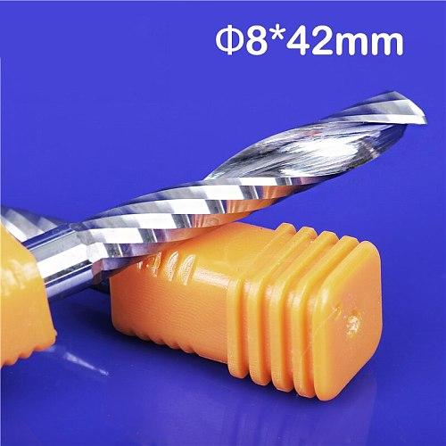 2pcs/lot High Quality Longer Cnc Router Bits Single Flute Spiral Carbide End Mill Cutter Tools SHK 8mm 8 x 42mm LOA 75mm