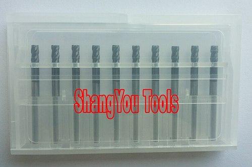 10pcs 3mm 4mm 4 Flutes Tungsten Square End Mills Spiral Bits Carbide CNC Endmill Router Bits