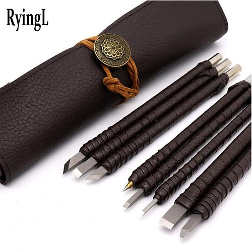 8pcs Tungsten Steel Carving Knife Set Seal Stone Graver Lettering Engraving Tool with Leather Handle+ Leather Bag