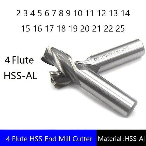 Four 4 Flute HSS End Mill Cutter CNC Bit Milling Cutter 2 3 4 5 6 7 8 9 10 11 12 13 14 15 16 17 18 19 20 21 22 25
