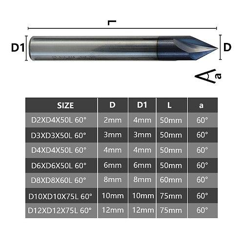 3 Flute Chamfer Cutter 60 Degrees CNC Router Bit 2-12mm For Aluminium Copper Cutter Tools Tungsten Carbide Engraving Router Bit