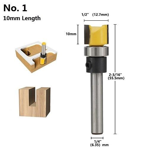 1pc 1/4''(6.35mm) Shank Flush Trimming Router Bit Template Trim Milling Cutter Straight Router Bit Pattern Wood Milling Bit
