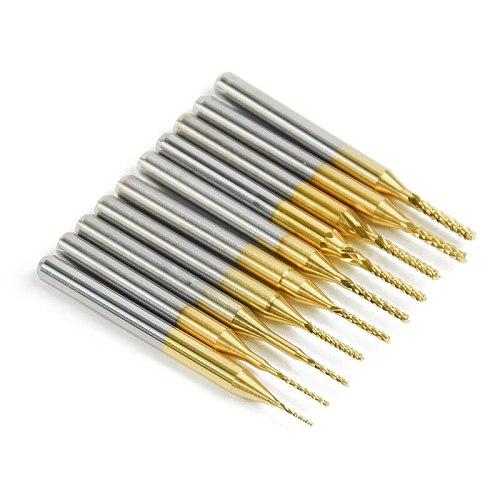 10pcs 1.0-3.0mm PCB Engraving Bit Drill Bit Set Carbide End Mill 1/8  Shank Titanium Coated CNC Milling Cutter For PCB Machine
