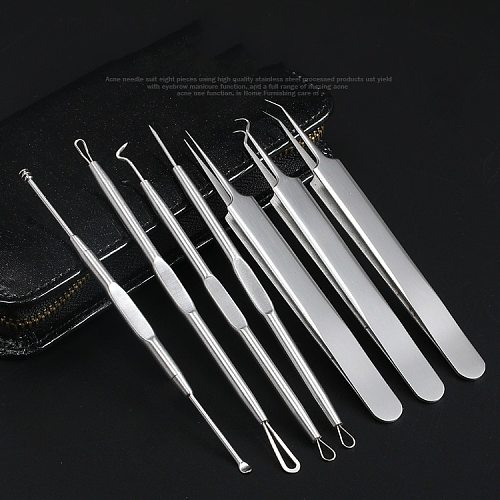 7Pcs Blackhead Remover Tool Kit Facial Pimple Removal Tools Blemish Extractor Acne Needle Clip Tweezer Set Face Skin Care Tools