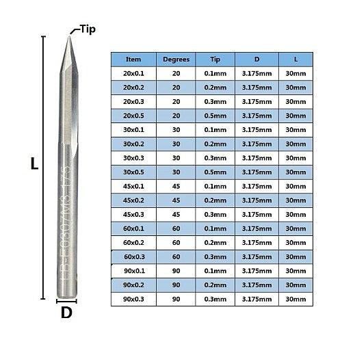 10pcs 20/30/45/60/90 Degrees Tip 0.1-0.5mm V Shape End Mills 3.175 Shank CNC Router Bit For Woodworking Engraving Bits