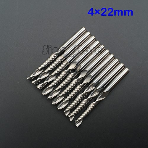 10pcs High Quality cnc bits single flute Spiral Router Carbide End Mill Cutter Tools 4mm x 22mm Free Shipping