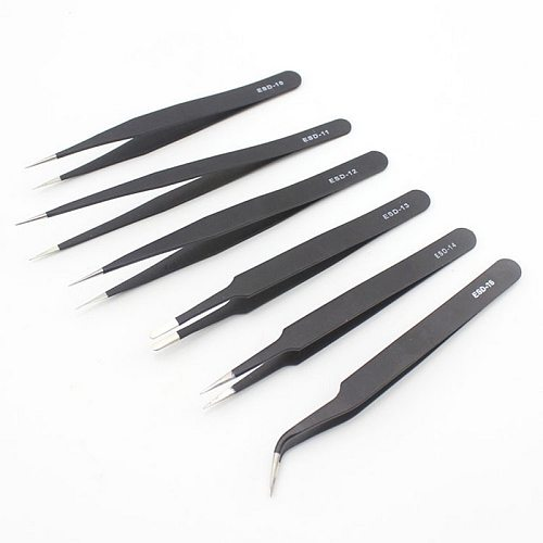 Urijk 6pcs ESD Anti-Static Stainless Steel Tweezers Set Maintenance Repair Tool Kit Anti Static Model Making Tool Hand Tool Set