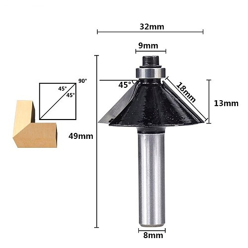 Chamfer Router Bit 8mm Shank Chamfer/Bevel Milling Cutter 45Degree Edge Router Bit For Woodworking Cutting Carbide Wood End Mill