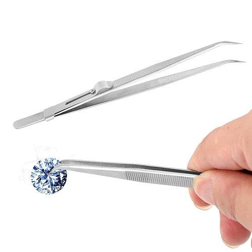 Adjustable Tweezers Electronic Anti Static Slide Lock Industrial Tweezers For Jewelry Stainless Steel Presicion Curved Tip