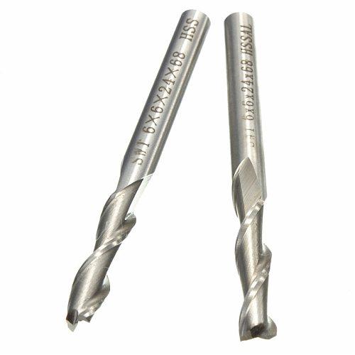 1Pcs 6mm 2 Flute HSS & Aluminium End Mill Cutter CNC Bit  Milling Machinery tools Cutting tools Milling Machinery Cutting tools