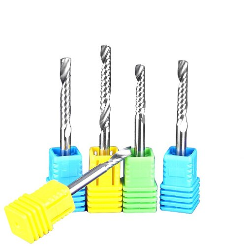 1pc 4/6mm SHK Single Flute Spiral Tools Engraving Bits Cutter Solid Carbide Endmill Cutting Wood Machine