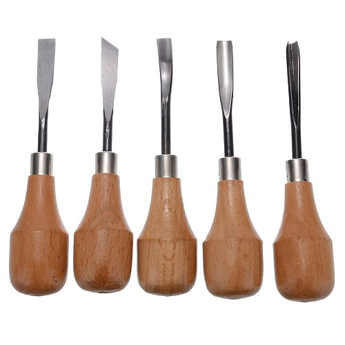 5Pcs Professional Wood Carving Hand Chisels Tools Set Woodworking Gouges Lathe For Home DIY Equipment Hand Tools