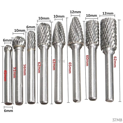 8Pcs 1/4  Tungsten Carbide Burr Bit 6mm Rotary Cutter Files CNC Engraving Tool Nice Gifts