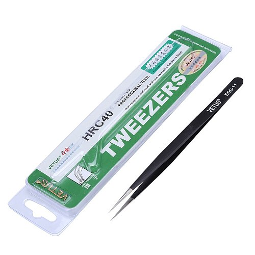 Anti-Static Stainless Steel VETUS Tweezers Pinzas ESD Series Industrial Tweezers Electronic Mobile Phone Repair Hand Tools